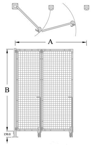 Bi-Fold 2 Drop Pin Hinge Gate Diagram